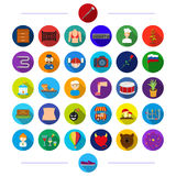 Nature, textiles, business and other web icon in flat style.profession, music, hobby, icons in set collection. Stock Photo