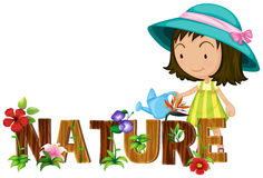 Nature theme with girl watering flowers Royalty Free Stock Images