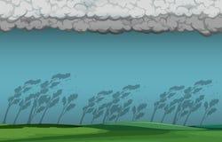 Nature thunder storm scene stock illustration