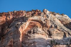 Mountains and waterfall at Zion National Park royalty free stock photos