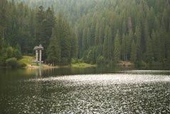 Nature tourist destination. A tourist destination on a Carpathian mountains lake in Ukraine Royalty Free Stock Images