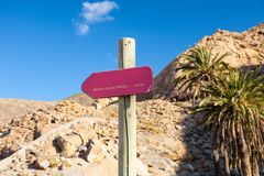 Nature Track Sign, Fuerteventura, Canary Islands Stock Image