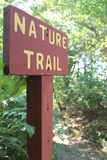 Nature Trail. View of nature trail sign at beginning on hiking trail in state park Royalty Free Stock Photography