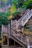 Nature Trail. Wooden stairs along nature trail, Bushkills Falls, Pennsylvania Royalty Free Stock Photo