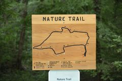 Nature Trail for Hiking, Biking, Walking and Running. A scenic nature trail for hiking, walking, biking, running, and exploring the mountainous countryside and stock photos