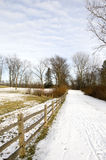 Nature Trail in Ohio. With Snow in Winter stock photo