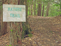 Nature trail and sign, Berkshires, MA Royalty Free Stock Photos