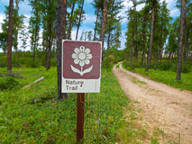 Nature Trail Sign in a Forest Royalty Free Stock Photo