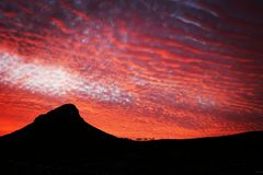Sunset fire over Lions Head in Cape Town stock image