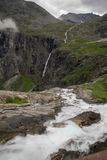 Waterfall in Norway summer travel. Nature travel in Europe hiking and waterfall sightseeing Stock Photos
