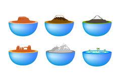 Nature travel landmarks icons Stock Image