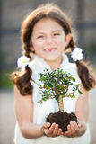 Nature tree. Child caring for the invironment and nature (focus on tree Stock Photography