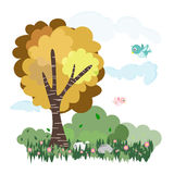 Nature tree and meadow with animals in forest illustration vector Royalty Free Stock Photo