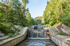 Nature of  trees and cascade of river near Medeo in Almaty, Kazakhstan,Asia at summer Royalty Free Stock Photo