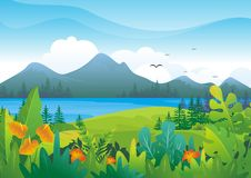 Nature tropical Background with Lovely scenery Design. With colorful tropical jungle theme, leaf, grass, bushes element, making it a beautiful natural scenery royalty free illustration