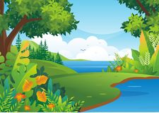 Nature tropical Background with Lovely scenery Design. With colorful tropical jungle theme, leaf, grass, bushes element, making it a beautiful natural scenery vector illustration