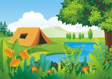 Nature tropical Background with Lovely scenery Design. With colorful tropical jungle theme, leaf, grass, bushes element, making it a beautiful natural scenery stock illustration