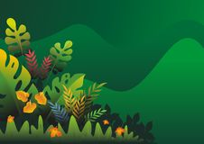 Nature tropical Background with stylish abstract design. With colorful tropical jungle theme, leaf, grass, and bushes element royalty free illustration