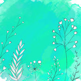 Nature turquoise background with white hand drawn Royalty Free Stock Photo