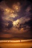 Nature in twilight period, Sunrise or Sunset over the sea with beach Royalty Free Stock Image