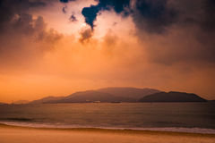 Nature in twilight period, Sunrise or Sunset over the sea with beach Stock Photos