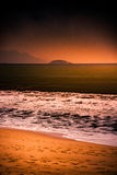 Nature in twilight period, Sunrise or Sunset over the sea with beach Stock Image
