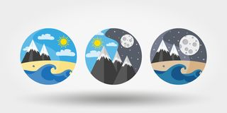 Nature, vacation, camping. Set of icons, logos. Universal icon for web and mobile application. Vector illustration on a white background. Editable Thin line vector illustration