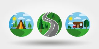 Nature, vacation, camping. Set of icons, logos. Universal icon for web and mobile application. Vector illustration on a white background. Editable Thin line stock illustration