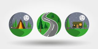 Nature, vacation, camping. Set of icons, logos. Universal icon for web and mobile application. Vector illustration on a white background. Editable Thin line royalty free illustration