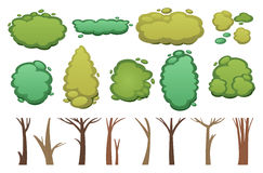 Nature vector cut tree collection elements Royalty Free Stock Photo