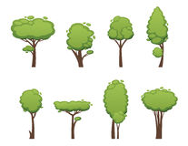 Nature vector cut tree collection elements Royalty Free Stock Images