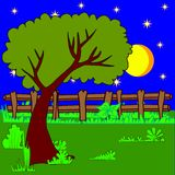 Glade. Nature vector  illustration. Night.Glade Royalty Free Stock Photo