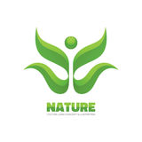 Nature - vector logo concept illustration. Ecology logo. Leafs logo. Bio product logo. Ecology logo. Sprouts, leaves. Stock Photography