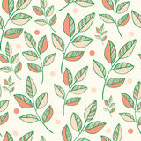 Nature vector seamless pattern of colored leaves. Royalty Free Stock Photos