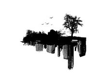 Nature versus City. Vector art Royalty Free Stock Image