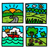 Nature view hand draw cartoon. Stock Image
