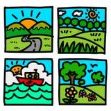 Nature view hand draw cartoon. Stock Image