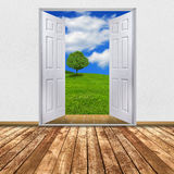 Nature view through open door Royalty Free Stock Photography