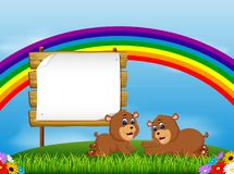The nature view with the wooden board blank space and two little bear lie down. Illustration of the nature view with the wooden board blank space and two little stock illustration
