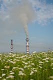 Nature vs industry. Pollution emissions into the atmosphere stock images