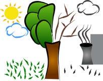Nature vs. pollution. Abstract illustration royalty free illustration