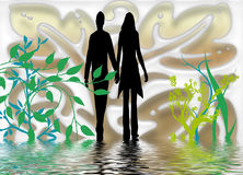 Nature walk. Illustration depicting silhouettes of man and woman walking on shallow water surrounded by green plants Royalty Free Stock Photo
