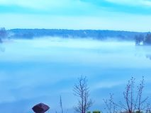 Nature, water, fog, landscape, bay stock photography