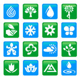 Nature and water icons buttons Royalty Free Stock Image