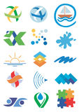 Nature_water_icons_symbols. Several icons and concepts for company logos. Vector illustration Royalty Free Stock Image