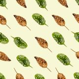 Nature watercolor seamless pattern brunch. Nature hand drawn watercolor nature seamless pattern with brunch. Nature color Stock Photo