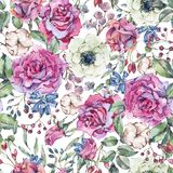 Nature watercolor seamless pattern with rose, anemone, cotton vector illustration
