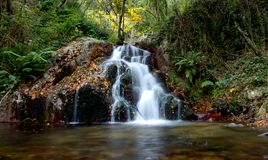 Nature Waterfall. Landscape in Riells, Girona, Catalunya, Spain Royalty Free Stock Image