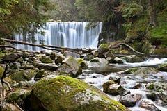 Mountain waterfall in the Czech Republic stock photo