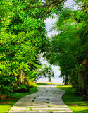 Way to beach in tropical resort Royalty Free Stock Images